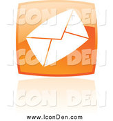 Clip Art of a Shiny Orange Square Email Icon by Cidepix
