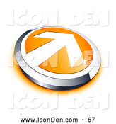 Clip Art of a Shiny White Arrow on an Orange Button with a Chrome Border and Orange Shadow by Beboy