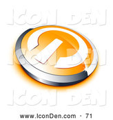 Clip Art of a Shiny White Power Symbol on an Orange Electronics Button, Bordered by Chrome, with an Orange Shadow by Beboy
