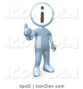 Clip Art of a Silver Person with an I Information Head by 3poD
