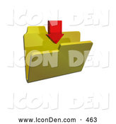 Clip Art of a Single Red Download Arrow Pointing down over a Yellow Folder by KJ Pargeter