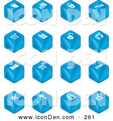 Clip Art of a Sixteen Blue Cube Icons of a Fortress, Brick Wall, Padlocks, Shopping Cart, Castle, Basket, Credit Card, and Key on White by AtStockIllustration