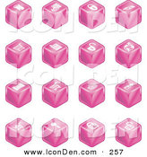 Clip Art of a Sixteen Pink Cube Icons of a Fortress, Brick Wall, Padlocks, Shopping Cart, Castle, Basket, Credit Card, and Key on White by AtStockIllustration
