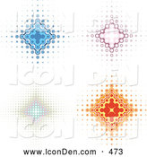 October 16th, 2013: Clip Art of a Sparkly Set of Four Blue, Pink, and Orange Diamond Backgrounds with Dots Spanning from the Center by KJ Pargeter