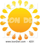 Clip Art of a Summer Sun with Drop Rays by Elena