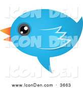 Clip Art of a Talking Blue Bird Icon by Qiun