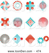 October 17th, 2013: Clip Art of a Unique Set of 12 Red and Blue Spiral, Diamond, Globe and Gear Logo Icons over Reflective Surfaces by KJ Pargeter