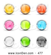 Clip Art of a Varied Set of Nine Yellow, Pink, White, Orange, Green, Red, Blue and Black Button Icons Circled in Chrome by Beboy