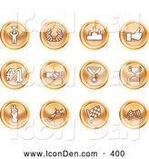 June 21st, 2013: Clip Art of a Winner, Laurel, Victory, Thumbs Up, Number 1, Handshake, Medal, Trophy, Champagne, Racing Flag and Wine - Coin Shaped Icons by AtStockIllustration