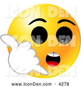 Clip Art of a Yellow Emoticon Face with Big Black Eyes, Holding His Hand up like a Cell Phone and Hollering for Someone to Call Him on His Smart Phone by Tonis Pan