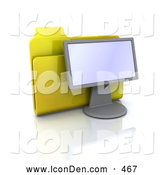 Clip Art of a Yellow Folder Resting Behind a Computer Monitor on White by KJ Pargeter