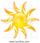 Clip Art of an Orange Hot Summer Sun by KJ Pargeter