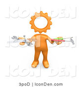 Clip Art of an Orange Person with a Gear Head, Holding Nails, Screwdriver, Hammer, Saw and Wrench While Repairing a Website by 3poD