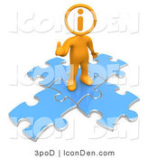 Clip Art of an Orange Person with an I Inside His Circle Head, Standing on Top of Blue Puzzle Pieces, Symbolizing Information and Technical Support for a Website by 3poD