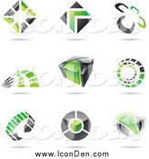 Clip Art of Black and Green Icons by Cidepix