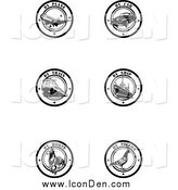Clip Art of Black and White by Delivery Seals by Eugene