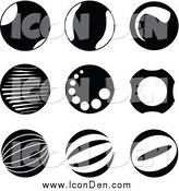 Clip Art of Black and White Circle Icons by Jiri Moucka