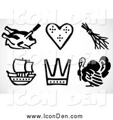 Clip Art of Black and White Thanksgiving Icons by BestVector