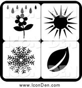 Clip Art of Black and White Weather Season Icons by Pams Clipart