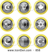 Clip Art of Black, White and Yellow Flag Icons by Prawny