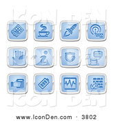 Clip Art of Blue and Silver Square Icons by AtStockIllustration