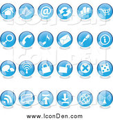 Clip Art of Blue Round Shiny Icons by Cidepix