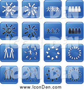 Clip Art of Blue Square Teamwork Icons by Prawny