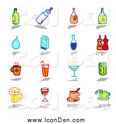 Clip Art of Bottles, Water, Milk, Condiments, and Beverages by NL Shop