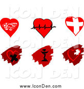 Clip Art of Cardiology Heart and Pharmaceutical Icons Designs by Vector Tradition SM