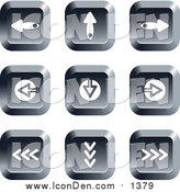 Clip Art of Chrome Square Arrow Buttons by Prawny