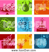 Clip Art of Colorful Appetizer, Balloon, Champagne, Present, Confetti, Cake, Music, and Disco Icons by NL Shop