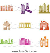 Clip Art of Colorful Architectural Icons by Prawny