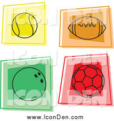 Clip Art of Colorful Sports Ball Icons by Prawny