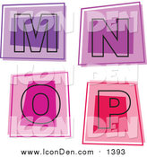 April 18th, 2016: Clip Art of Colorful Square Letter Icons; M Through P by Prawny