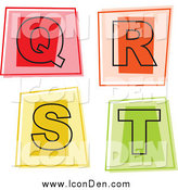 Clip Art of Colorful Square Letter Icons; Q Through T by Prawny