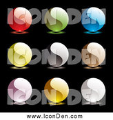 Clip Art of Colorful Yin Yang Icons, on Black by Michaeltravers