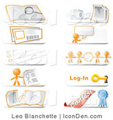 Clip Art of Community Hotline Website Orange Man Icons by Leo Blanchette
