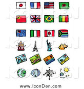 Clip Art of Flags and Tourist Attractions by NL Shop