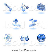Clip Art of Floating Blue Medical Icons by AtStockIllustration