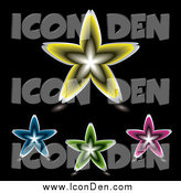 Clip Art of Four Colorful Floral Star Icons on Black by Michaeltravers