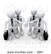 Clip Art of Four White Business People Carrying Briefcases and Standing with Their Hands Piled, Symbolizing Teamwork, Cooperation, Support, Unity and Goals, on White by 3poD