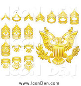 Clip Art of Gold Military American Army Enlisted Rank Insignia Icons by AtStockIllustration