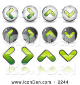 Clip Art of Green Back, Forth, Upload and Download or Elevator Arrow Icons, on a White Background by Beboy