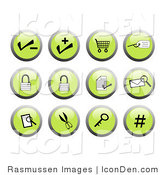 Clip Art of Green Business Website Icon Buttons by Rasmussen Images