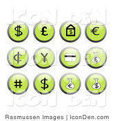 Clip Art of Green Financial Icon Buttons by Rasmussen Images