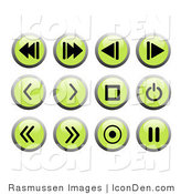 Clip Art of Green Recording Icon Buttons by Rasmussen Images