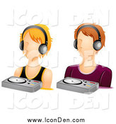 Clip Art of Male and Female DJ Icons by BNP Design Studio