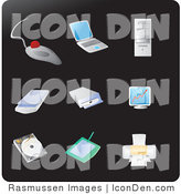 Clip Art of Nine Computer Picture Icons on a Solid Black Background by Rasmussen Images