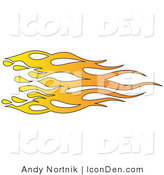 Clip Art of Orange and Yellow Flames on White by Andy Nortnik