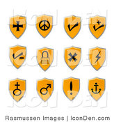 Clip Art of Orange Shield Icons by Rasmussen Images